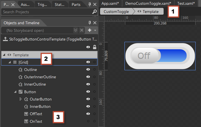 wpf datagrid control template - wpf create a custom toggle control with touch and