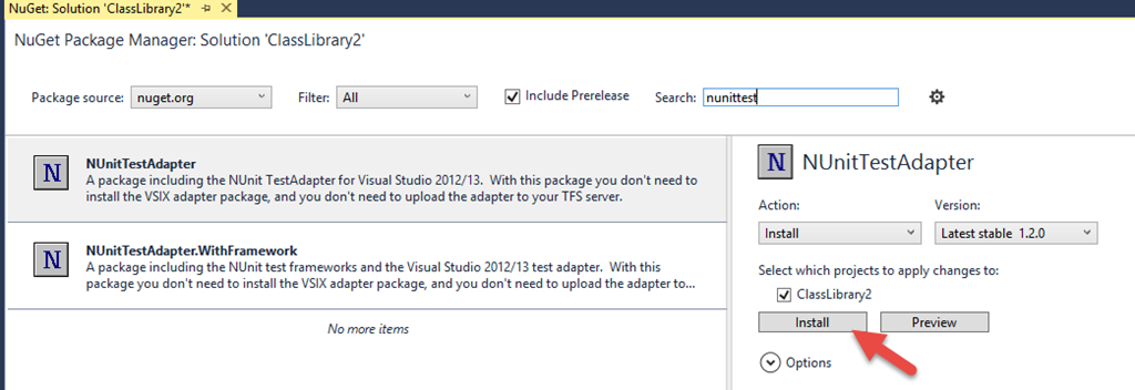 Visual Studio 2015 and NUnit, with a little NuGet issue