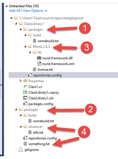 GitIgnore–How to exclude Nuget packages at any level, and