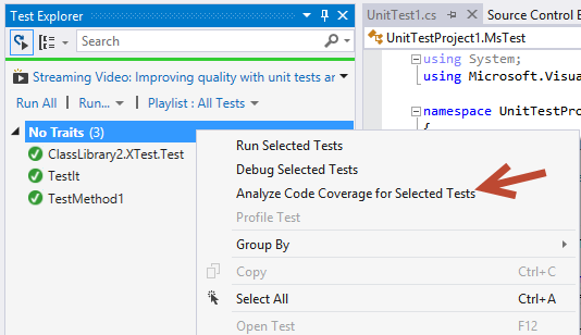 How to exclude code from Code Coverage in Visual Studio unit