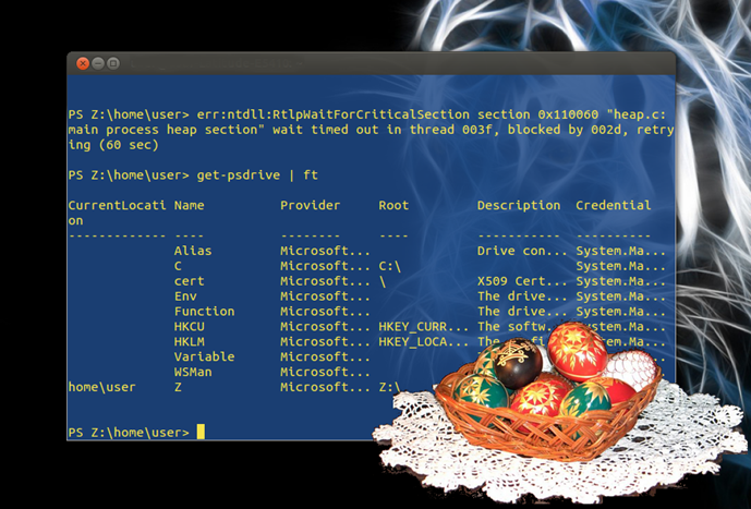Easter egg – OMG^2 the true PowerShell in bash window