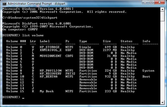 List Volumes From A Command Prompt